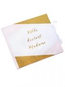 Livre d'or Mlle devient madame rose, blanc et or 22 x 19 cm