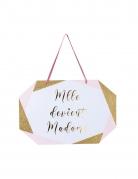 Pancarte en carton mlle devient madame rose blanc doré 25 x 16,5 cm