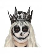 Couronne reine malveillante latex argentée adulte