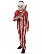 Déguisement clown rayé rouge et blanc adolescent