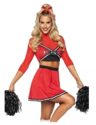Déguisement luxe pompom girl rouge femme