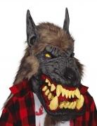 Masque latex loup-garou avec cheveux adulte