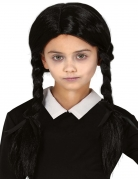 Perruque noire avec couettes fille