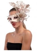 Masque rose et doré avec fleurs femme