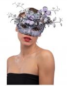 Masque argent et lilas avec papillon et branchage femme
