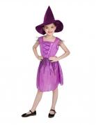 Déguissement sorcière violette avec chapeau fille