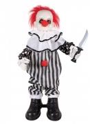 Décoration animée et sonore clown fou 80 cm