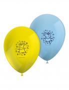 8 Ballons en latex Peppa Pig™ jaunes et bleus 26 cm