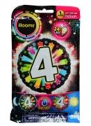 Ballon aluminium chiffre 4 multicolore LED Illooms® 50 cm