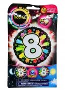 Ballon aluminium chiffre 8 multicolore LED Illooms® 50 cm