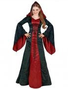 Déguisement gothique à capuche rouge et noir femme