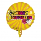 Ballon aluminium Joyeux anniversaire hippie 45 cm