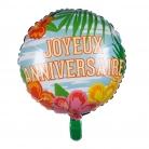 Ballon aluminium Joyeux Anniversaire Paradise 45 cm
